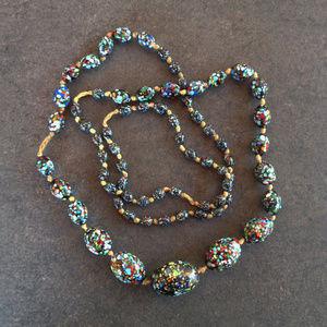 Vintage Confetti Ceramic Bead Necklace